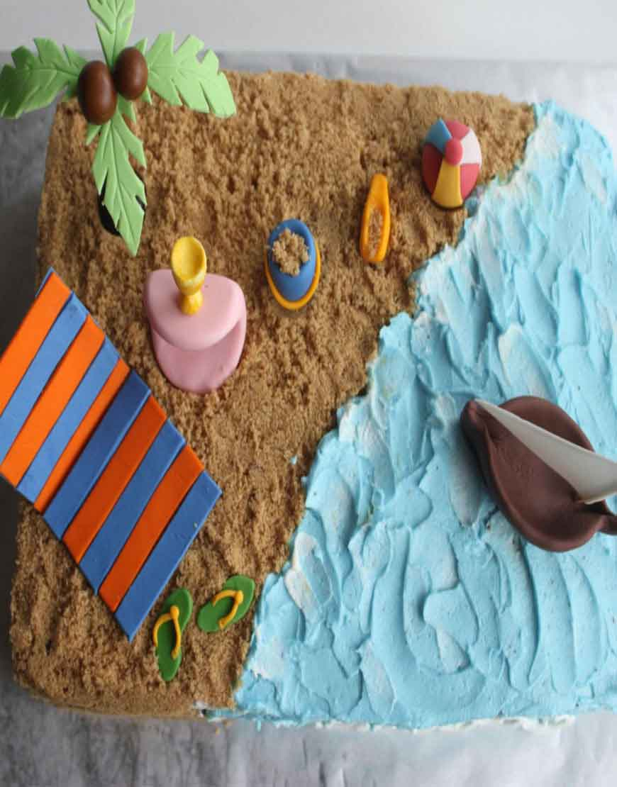 Tremendous Order Beach Themed Birthday Cake Online In Gurgaon Gurgaonbakers Birthday Cards Printable Trancafe Filternl
