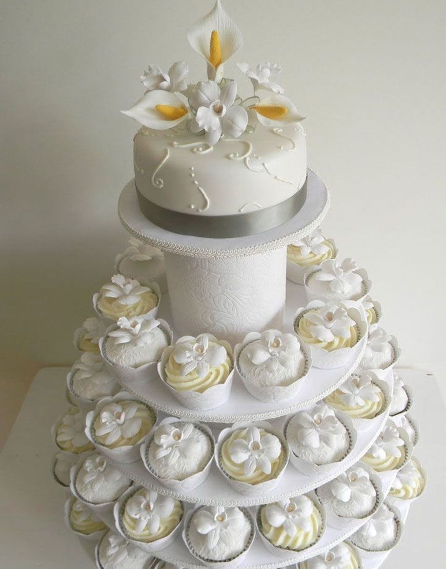 Elegant White Wedding Cupcake Tower
