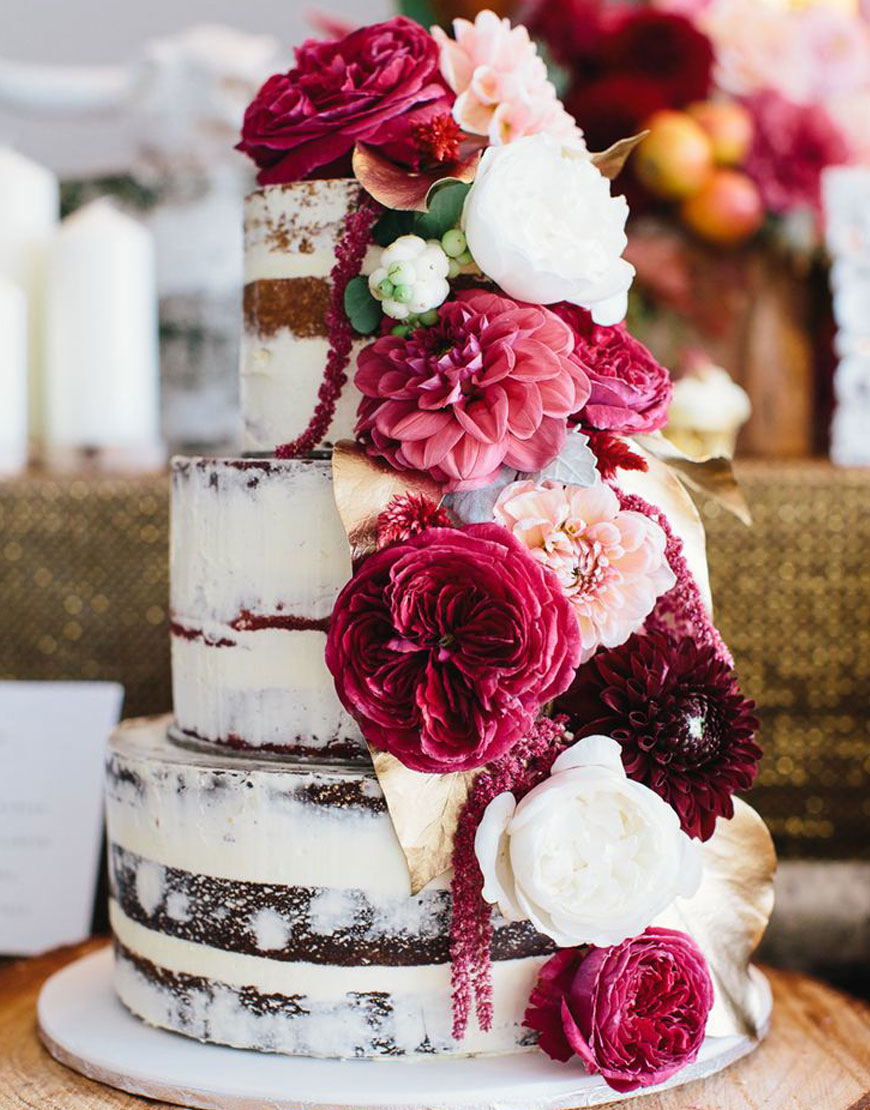 Flowers Cascade Wedding Cake