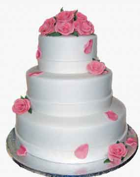 Pink Rose Petals Wedding Cake