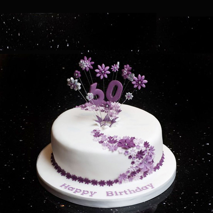 Birthday Cake Decorated with Purple