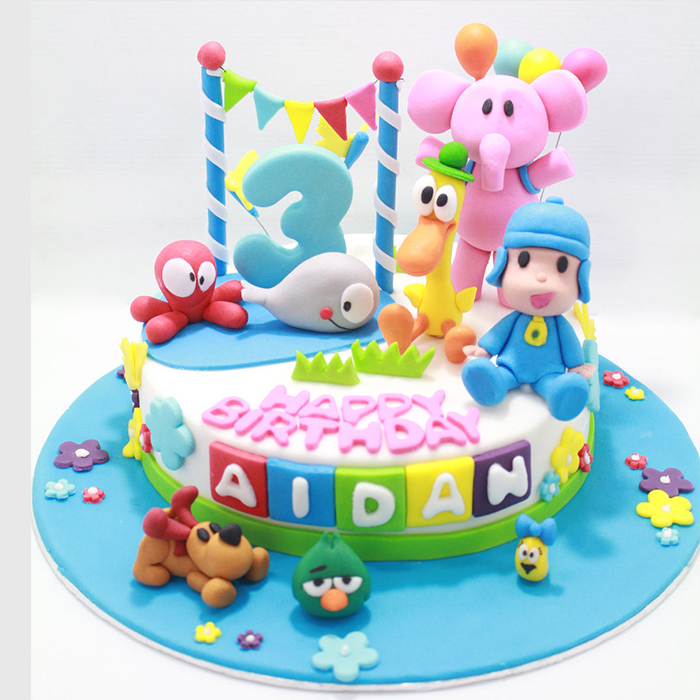 Kids Playing Birthday Cake