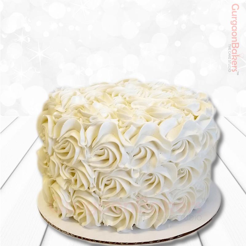 Incredible Red Velvet White Rosette Cake Delivery Gurgaonbakers Personalised Birthday Cards Xaembasilily Jamesorg