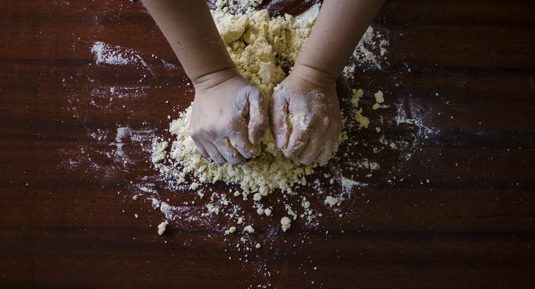 Wet your hands to prevent Dough from Sticking
